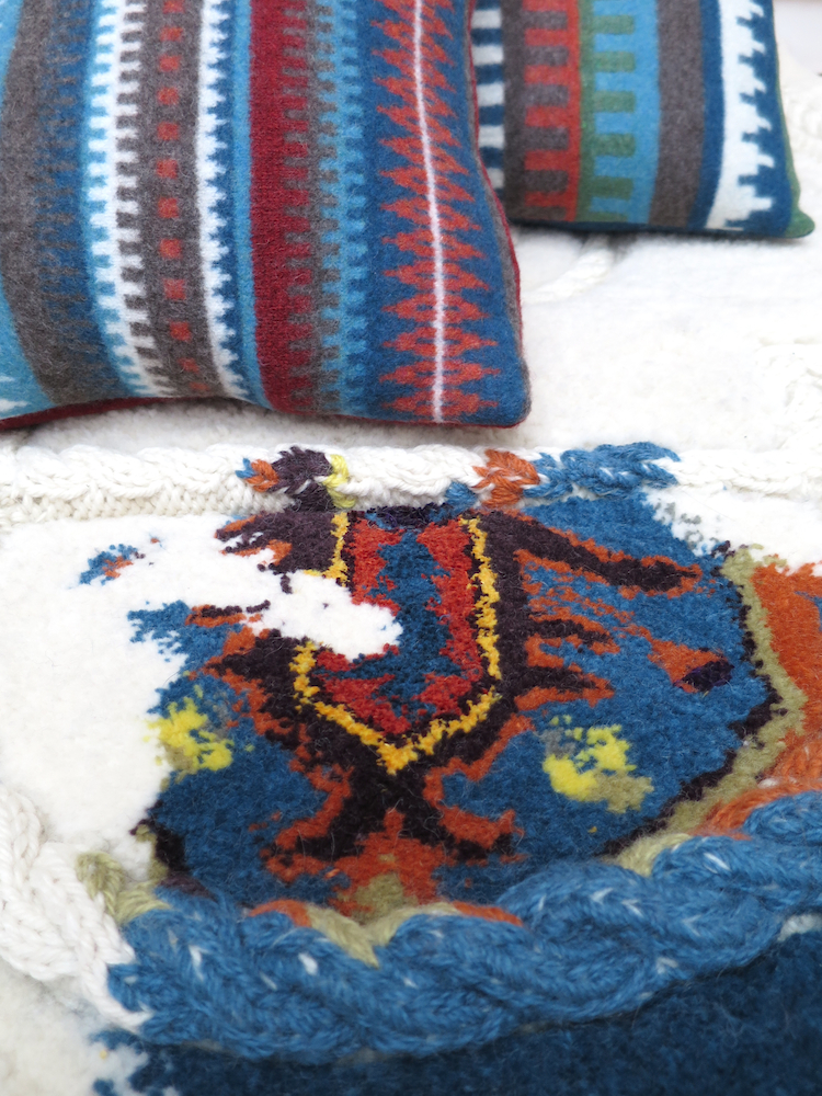 'Bohus' inspired cushions with Aran infused carpet