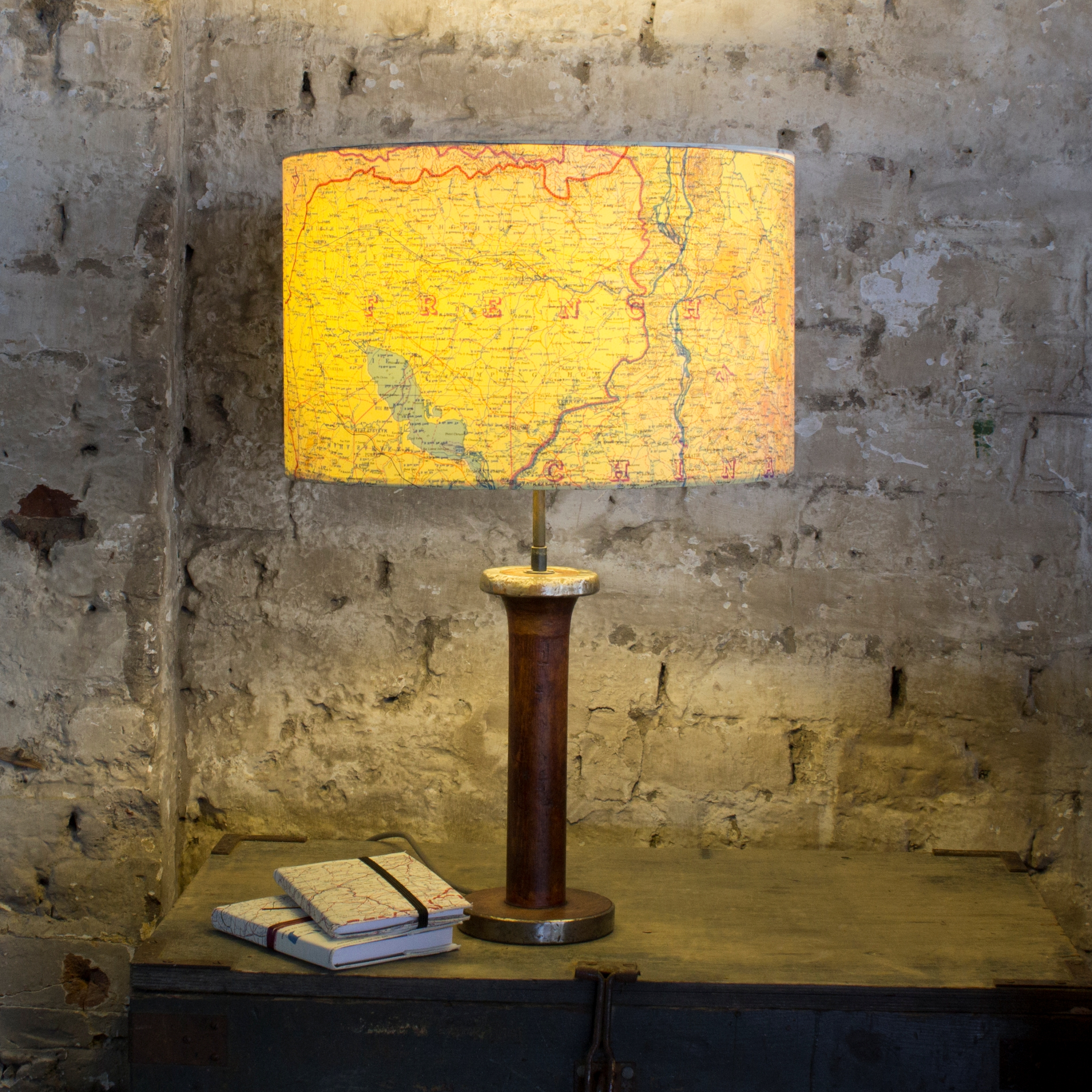 Large Drum 'Escape and Evade' Map Lampshade