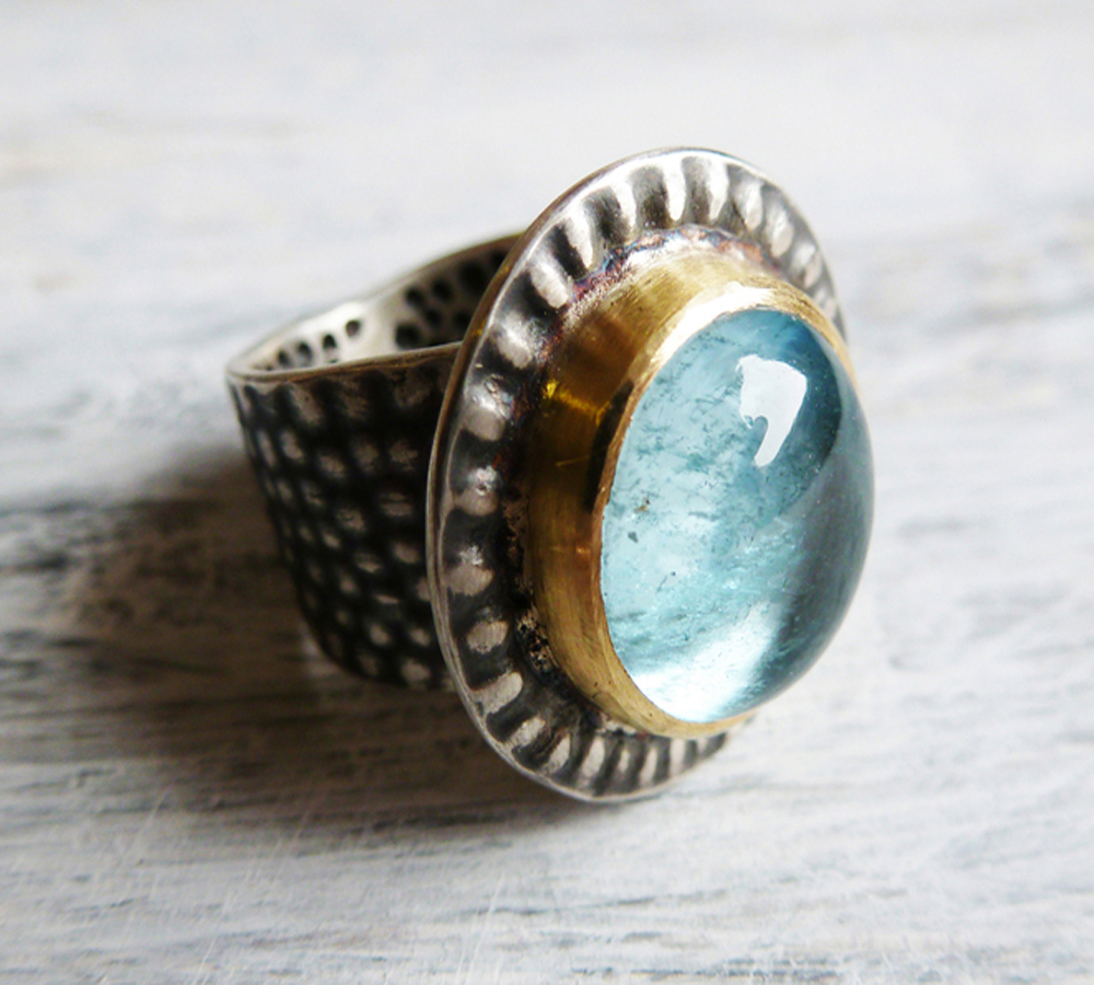 Textured ring with blue tourmaline.