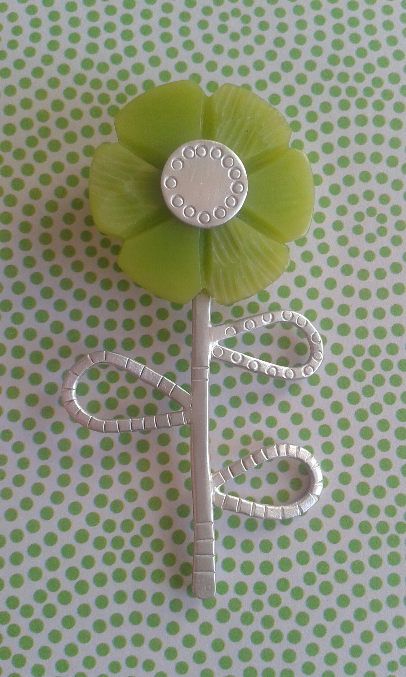 Lucite and silver Flower Brooch.