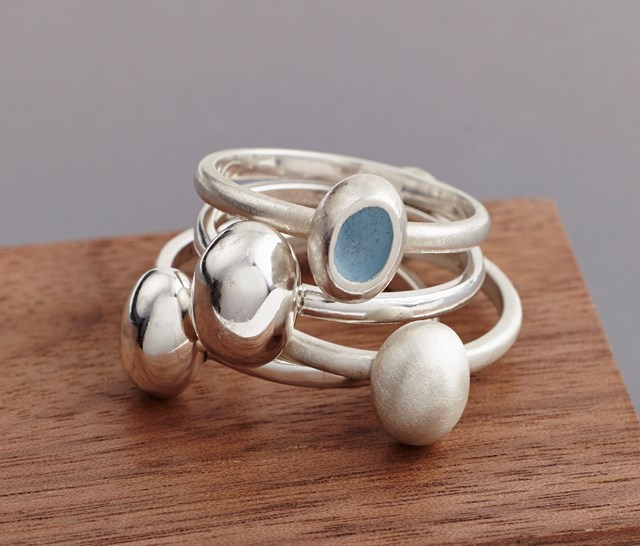 Pebble rings and full cup ring with sky blue enamel