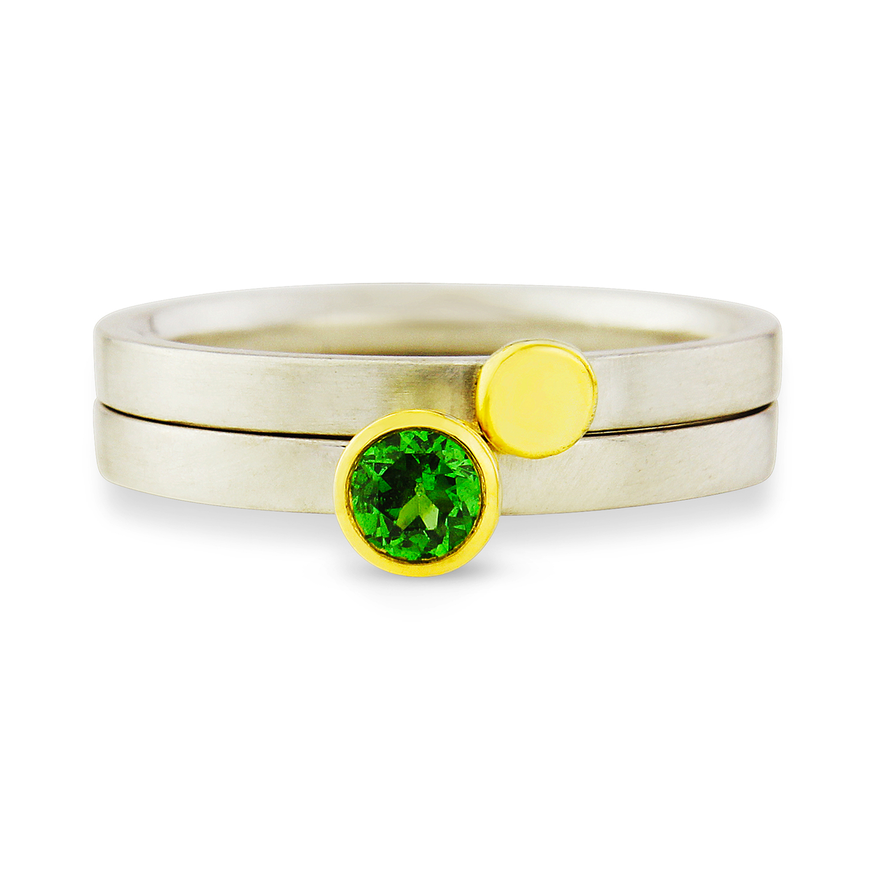 18 carat yellow gold, tourmaline and silver stacking ring pair