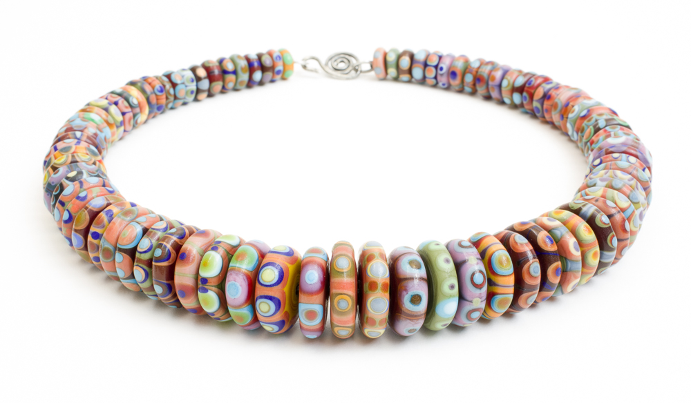 Decorated disc bead necklace